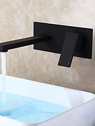Matte Frosted Black Bathroom Sink Faucet / Hot And Cold Mixer Ceramic Valve / Wall Mounted Embedded Box Easy Installation / Contemporary