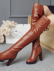 cheap -Women's Shoes Microfibre Winter Fall Fashion Boots Boots Round Toe Over The Knee Boots Imitation Pearl Buckle Zipper for Casual Party &