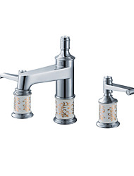 cheap -Contemporary Luxury Centerset High Quality Brass Valve Two Handles Three Holes Chrome , Bathroom Sink Faucet