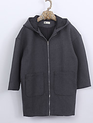 Women's Casual/Daily Street chic Fall Winter Coat,Solid Hooded Long Sleeves Long Wool Polyester