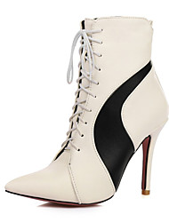 cheap -Women's Shoes Customized Materials / Leatherette Fall / Winter Comfort / Novelty Boots Pointed Toe Mid-Calf Boots White / Black / Wedding