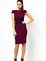 Women's Going out Bodycon Dress,Solid Round Neck Knee-length Short Sleeves Cotton Summer High Waist Micro-elastic Thin