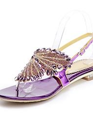Feminino Sapatos Poliuretano Primavera Verão Botas da Moda Sandálias Dedo Aberto Pedrarias Cristais Gliter com Brilho Presilha Para