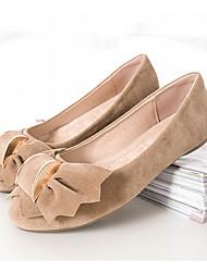 Feminino Sapatos Pele Nobuck Primavera Outono Mocassim Rasos Laço Para Casual Roxo Fúcsia Azul Rosa claro Khaki