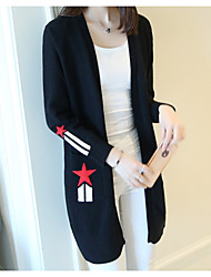 Lungo Cardigan Da donna-Casual Tinta unita A V scollato Manica lunga Seta Cashmere Cotone Autunno Inverno Medio spessore Media elasticità