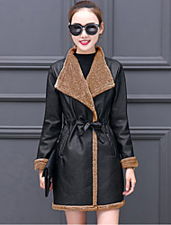 cheap -Women's Going out Plus Size Street chic Winter Fall Leather Jacket,Solid Color Block Shirt Collar Long Sleeves Regular PU Polyester