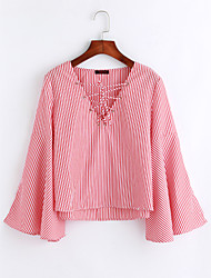 Women's Daily Wear Going out Cute Fall/Autumn Shirt,Striped V Neck Long Sleeves Cotton Thin