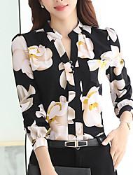 Недорогие -Жен. Рубашка Вырез под горло Цветочный принт / Весна