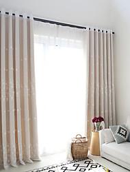 oeillets Plis double Plis crayon Le traitement de fenêtre Moderne Décontracté , Jacquard Couleur Pleine Chambre à coucher Polyester