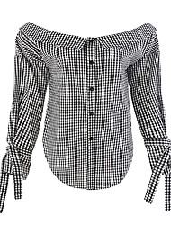 Недорогие -Жен. Рубашка Вырез лодочкой Очаровательный Активный Шахматка Вспышка рукава