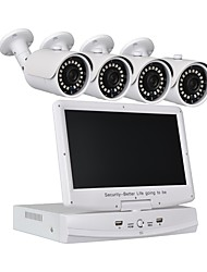 cheap -4 CH Security System 10.1 inch LCD 1080N AHD DVR 41.0MP Weatherproof Cameras with Night Vision