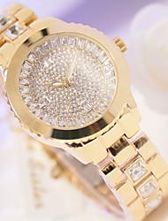 preiswerte -Damen Quartz Pavé-Uhr Armbanduhr Japanisch Edelstahl Band Silber Gold