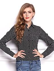 cheap -Women's Daily Wear Work Street chic All Seasons Shirt,Polka Dot Rivet Shirt Collar Long Sleeves Polyester