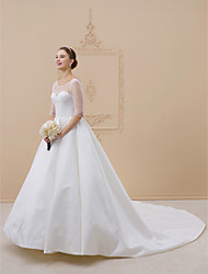 cheap -Ball Gown Illusion Neckline Cathedral Train Satin Custom Wedding Dresses with Draping by LAN TING BRIDE®
