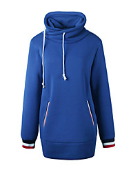 Sweatshirt Femme Sports Sortie simple Chic de Rue Couleur Pleine Col Roulé Sans Doublure Polyester Manches Longues Printemps/Automne