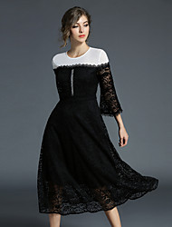 cheap -Women's Going out Vintage Flare Sleeve Lace Dress - Color Block / Patchwork / Hollow Lace / Mesh High Waist / Fall / Winter