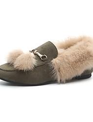 Femme Chaussures Cachemire Hiver Moccasin Mocassins et Chaussons+D6148 Bout rond Pour Décontracté Noir Marron Vert
