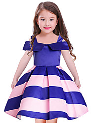 Girl's Going out Holiday Striped Dress,Polyester Short Sleeves Cute Princess Blushing Pink