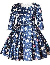 abordables -Robe Fille de Quotidien Sortie Couleur Pleine Ciel Coton Polyester Printemps Automne Manches 3/4 Mignon Décontracté Princesse Bleu