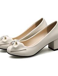 preiswerte -Damen Schuhe PU Frühling / Herbst Komfort / Neuheit High Heels Spitze Zehe Strass / Schleife Schwarz / Beige / Rosa / Party & Festivität