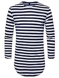 abordables -Hombre Chic de Calle Algodón Camiseta, Escote Redondo A Rayas