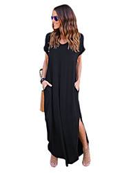 cheap -Women's Daily Work Casual Street chic Loose Dress,Solid Round Neck Maxi Short Sleeve Cotton Acrylic All Season Mid Rise Micro-elastic