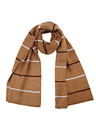 cheap -Unisex Cashmere Cotton Rectangle Striped Color Block Winter All Seasons Khaki Light Brown Gray