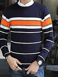 preiswerte -Herren Kurz Pullover-Lässig/Alltäglich Einfach Gestreift Rundhalsausschnitt Langärmelige Baumwolle Herbst Winter Mittel strenchy