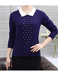 cheap -Women's Daily Regular Pullover,Print Round Neck Long Sleeves Cashmere Wool Cotton Winter Fall Medium Micro-elastic
