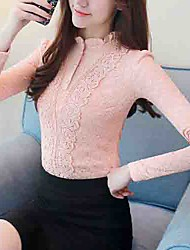 cheap -Women's Daily Going out Active Winter Fall Blouse,Solid Stand Long Sleeves Cotton Polyester Thick