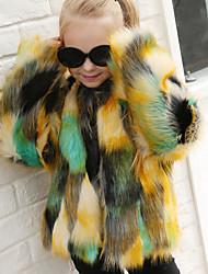 Недорогие -Жен. Пальто с мехом Контрастных цветов С принтом