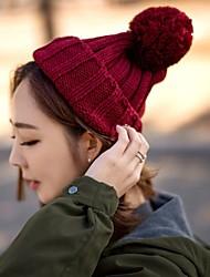 Для женщин Винтаж На каждый день Широкополая шляпа,Зима Вязанная Однотонный Стильные