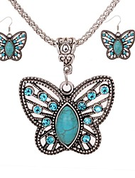 cheap -Women's Turquoise Turquoise Butterfly Jewelry Set 1 Necklace / Earrings - Vintage / Fashion Silver Drop Earrings / Necklace For Daily