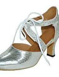 cheap -Women's Modern Leatherette Sandal Indoor Customized Heel Gray Silver Black Gold