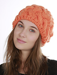cheap -Women's Acrylic Roman Knit Floppy HatVintage Cute Casual Floral Winter Braided Khaki Wine Orange Black
