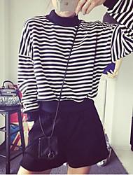 preiswerte -Damen Langarm Rundhalsausschnitt Pullover - Streife, Gestreift Baumwolle