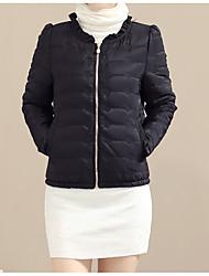 Dámské S vycpávkou Sofistikované Běžné/Denní Jednobarevné-Kabát Polyester Dlouhý rukáv