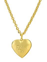 baratos -Mulheres Medalhão Coração Bijuterias Destaque Colares com Pendentes Banhado a Ouro 18K Cobre Colares com Pendentes , Festa Diário