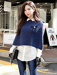 cheap -DABUWAWA Women's Daily Going out Casual Street chic Short Pullover,Solid Shirt Collar Long Sleeves Wool Acrylic Winter Autumn Medium Micro-elastic