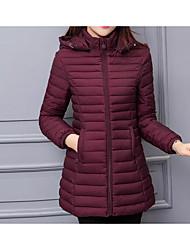 Недорогие -Пальто На каждый день Обычная На подкладке Для женщин,Однотонный Прочее Хлопок Длинный рукав