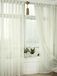 economico -Ad anello A piega doppia A piega singola Trattamento finestra Modern , Con stampe Tinta unita Salotto Lino Materiale Sheer Curtains Shades