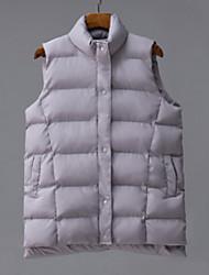 Uden ærmer Normal Dynejakke Damer Frakke,Simple I-byen-tøj Ensfarvet-Dun