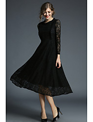 cheap -Women's Daily Work Vintage Casual A Line Sheath Swing Dress,Solid Hollow Embroidered Round Neck Midi Long Sleeve Polyester Mesh/Net All