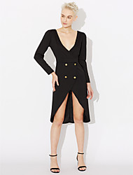 Women's Dailywear Evening Party Prom Date Sexy A Line Dress,Solid Color Deep V Above Knee, Mini Long Sleeves N/A Summer High Rise Stretchy