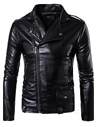 cheap -Men's Punk & Gothic Plus Size Leather Jacket - Solid, Zipper