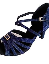 Недорогие -Жен. Обувь для латины Лак / Синтетика Сандалии В помещении Каблуки на заказ Танцевальная обувь Синий / Серебро / черный