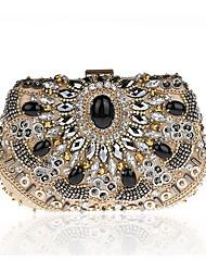 Недорогие -женские сумки полиэстер вечерние сумки кристаллы золото / черный / серебро