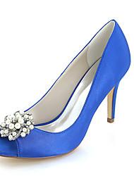 economico -Per donna Scarpe Raso Primavera / Estate Decolleté scarpe da sposa A stiletto Punta aperta Con diamantini / Perle di imitazione Blu /