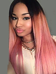 cheap -Women Synthetic Wig Capless Middle Part Long Ombre Pink Straight Hair Costume Wig