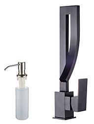 Недорогие -Ар деко/ретро Высокий / High Arc По центру Широко распространенный Керамический клапан Одной ручкой одно отверстие Начищенная бронза ,